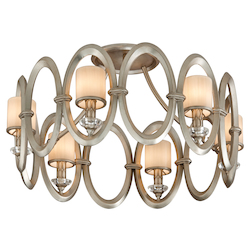 Satin Silver Leaf  6 Light Hand Crafted Iron Ring Semi Flush Mount Ceiling Fixture with White Pearl Glass from the Embrace Collection