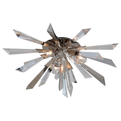 Silver Leaf Inertia 3 Light Modern Flush Mount Ceiling Fixture with Hand Crafted Iron Frame and Crystal Diffuser