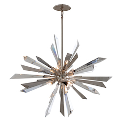 Silver Leaf Inertia 6 Light Modern Pendant with Hand Crafted Iron Frame and Crystal Diffuser