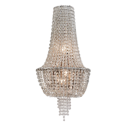 Polished Nickel 3 Light Ornate Wall Sconce with Jewelry Chain and Crystal Beads from the Vixen Collection