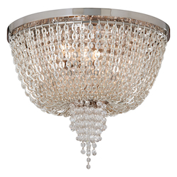 Polished Nickel 2 Light Ornate Flush Mount Ceiling Fixture with Jewelry Chain and Crystal Beads from the Vixen Collection