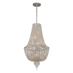 Polished Nickel 5 Light Ornate Foyer Pendant with Jewelry Chain and Crystal Beads from the Vixen Collection