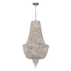 Polished Nickel 6 Light Ornate Foyer Pendant with Jewelry Chain and Crystal Beads from the Vixen Collection
