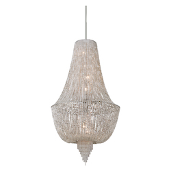Polished Nickel 8 Light Ornate Foyer Pendant with Jewelry Chain and Crystal Beads from the Vixen Collection