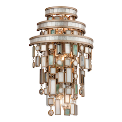 Dolcetti Silver Dolcetti 3 Light Wall Sconce with Hand Crafted Iron Frame and Mixed Shells, Crystal and Art Glass Accents