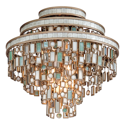 Dolcetti Silver Dolcetti 3 Light Semi-Flush Ceiling Fixture with Hand Crafted Iron Frame and Mixed Shells, Crystal and Art Glass Accents