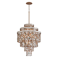 Dolcetti Silver Dolcetti 13 Light Pendant with Hand Crafted Iron Frame and Mixed Shells, Crystal and Art Glass Accents