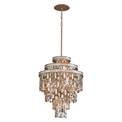 Dolcetti Silver Dolcetti 7 Light Pendant with Hand Crafted Iron Frame and Mixed Shells, Crystal and Art Glass Accents