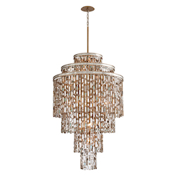 Dolcetti Silver Dolcetti 19 Light Chandelier with Hand Crafted Iron Frame and Mixed Shells, Crystal and Art Glass Accents