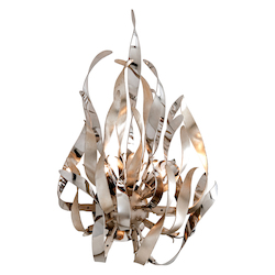 Silver Leaf / Polished Stainless Graffiti 2 Light Modern Wall Sconce with Hand Crafted Iron Frame and Smoked Crystal Diffuser