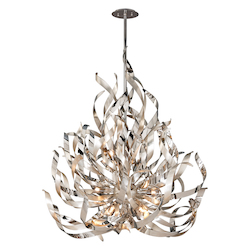 Silver Leaf And Polished Stainless Finish Graffiti 12 Light Modern Pendant with Hand Crafted Iron Frame and Smoked Crystal Diffuser