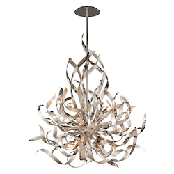 Silver Leaf And Polished Stainless Finish Graffiti 6 Light Modern Pendant with Hand Crafted Iron Frame and Smoked Crystal Diffuser