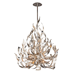 Silver Leaf And Polished Stainless Finish Graffiti 9 Light Modern Pendant with Hand Crafted Iron Frame and Smoked Crystal Diffuser
