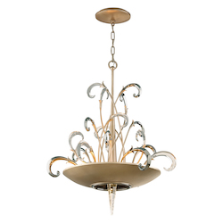 Tranquility Silver Leaf Finish Crescendo 6 Light Crystal and Hand Crafted Iron Foyer Pendant