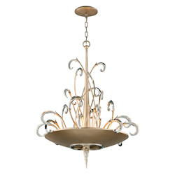 Tranquility Silver Leaf Finish Crescendo 8 Light Crystal and Hand Crafted Iron Foyer Pendant