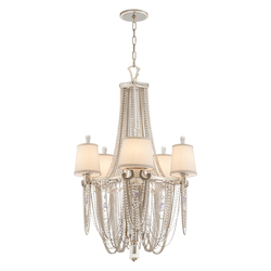 Modern Silver Leaf Flirt 5 Light Amethyst Rock Crystal Chandelier