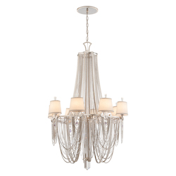 Modern Silver Leaf Flirt 8 Light Amethyst Rock Crystal Chandelier