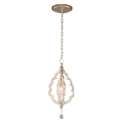 Silver Leaf Finish With Antique Mist Bijoux 1 Light Crystal Accent Mini Pendant