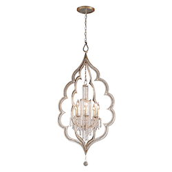 Silver Leaf Finish With Antique Mist Bijoux 8 Light Crystal Accent Foyer Pendant