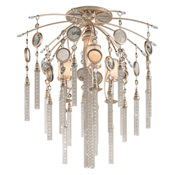 Topaz Leaf Bliss 4 Light Semi-Flush Ceiling Fixture with Hand Crafted Iron Frame and Brazilian Rock Crystal Accents