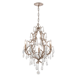 Vienna Bronze Amadeus 3 Light Candle Style Chandelier with Hand Crafted Iron Frame and Faceted Italian Glass Accents