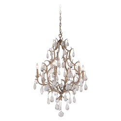Vienna Bronze Amadeus 6 Light Candle Style Chandelier with Hand Crafted Iron Frame and Faceted Italian Glass Accents