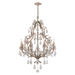 Vienna Bronze Amadeus 8 Light Candle Style Chandelier with Hand Crafted Iron Frame and Faceted Italian Glass Accents