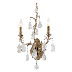 Vienna Bronze Amadeus 2 Light Candle Style Wall Sconce with Hand Crafted Iron Frame and Faceted Italian Glass Accents