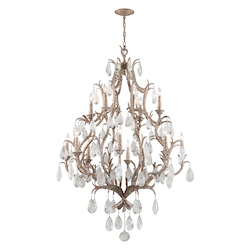 Vienna Bronze Amadeus 12 Light Candle Style Chandelier with Hand Crafted Iron Frame and Faceted Italian Glass Accents