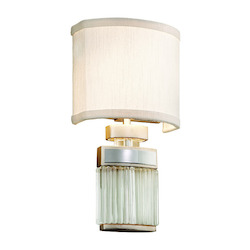 Modern Silver Leaf / Polished Stainless / Clear Small Talk 2 Light Wall Sconce with Hand-Crafted Iron Frame and Hardback Ivory Ice Shade