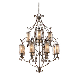 Moritz Bronze Finish Wrought Iron 12 Light 2 Tier Chandelier from the St. Moritz Collection