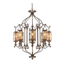 Moritz Bronze Finish Wrought Iron 8 Light Chandelier from the St. Moritz Collection