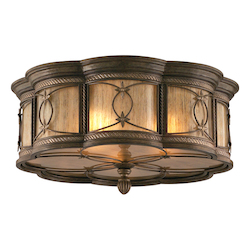 Moritz Bronze Finish Wrought Iron 3 Light Flushmount Ceiling Fixture from the St. Moritz Collection