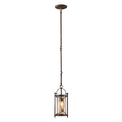 Moritz Bronze Finish Wrought Iron 1 Light Mini Pendant from the St. Moritz Collection
