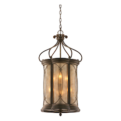 Moritz Bronze Finish Wrought Iron 6 Light Foyer Pendant from the St. Moritz Collection