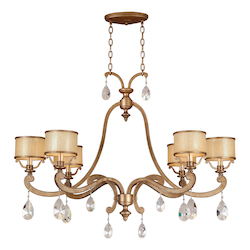 Antique Roman Silver 6 Light Island / Billiard Fixture from the Roma Collection with Glass Accents