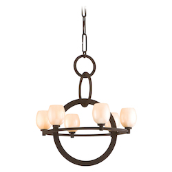 Brown Suede Cirque 6 Light Chandelier with Hand Crafted Iron Frame and Antique Pearl Glass Shade