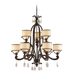 Classic Bronze Nine Light Mid-Sized Chandelier From The Roma Collection
