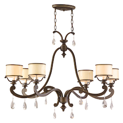 Classic Bronze Six Light Island / Billiard Fixture From The Roma Collection