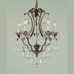 Five Light British Bronze Up Chandelier
