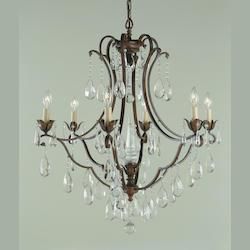 Six Light British Bronze Up Chandelier