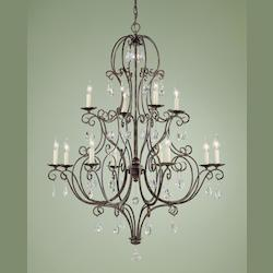 Twelve Light Mocha Bronze Up Chandelier