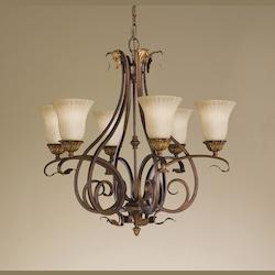 Six Light Aged Tortoise Shell French Scarvo Glass Up Chandelier