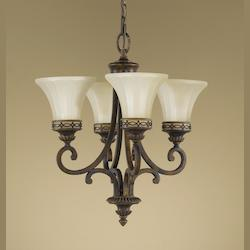 Four Light Walnut Amber Snow Scavo Glass Up Chandelier