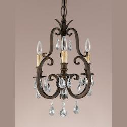 Three Light Aged Tortoise Shell Up Chandelier