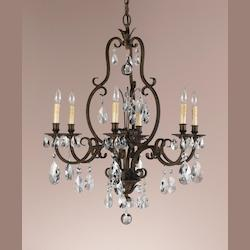 Six Light Aged Tortoise Shell Up Chandelier