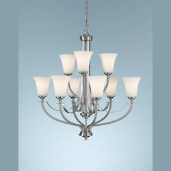 Nine Light Brushed Steel Opal Etched Glass Up Chandelier