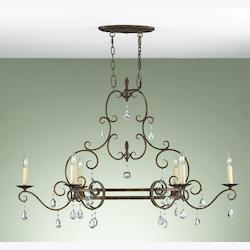 Six Light Mocha Bronze Up Chandelier