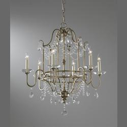Six Light Gilded Silver Up Chandelier