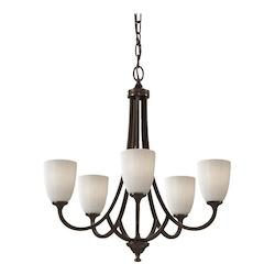 Five Light Heritage Bronze White Opal Etch Glass Up Chandelier